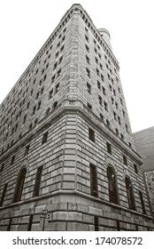 Federal Reserve Bank in New York City's financial district in downtown Manhattan.  In black and white.
