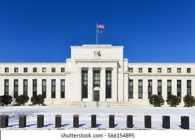 Federal Reserve Building in snow - Washington DC USA