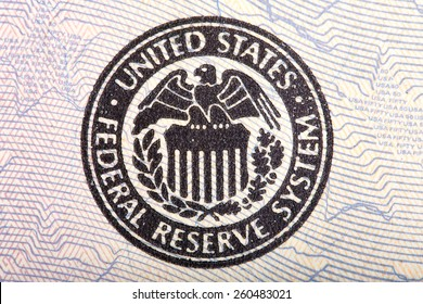 Federal Reserve icon on a fifty dollar bill.
