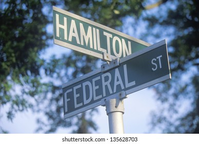 Federal Street; Hamilton Street sign in a intersection
