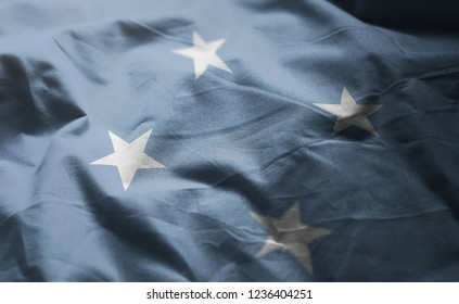 Federated States of Micronesia Flag Rumpled Close Up