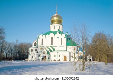 Fedorovsky Cathedral on a sunny February day. Tsarskoye Selo, St. Petersburg. Russia