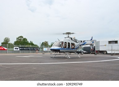 FEDYUKOVO, RUSSIA - JULY 15: Bell-407 helicopter prepares for takeoff on the Moscow Raceway circuit helipad during WSR Formula Renault races on July 15, 2012 in Fedyukovo, Russia.