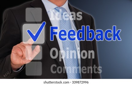 Feedback - Businessman with checkbox and text