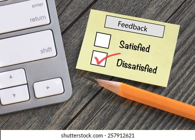 feedback in customer survey, showing dissatisfied experience