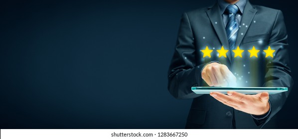 Feedback, review and increase rating concepts. Digital tablet user give five stars in his review and feedback.