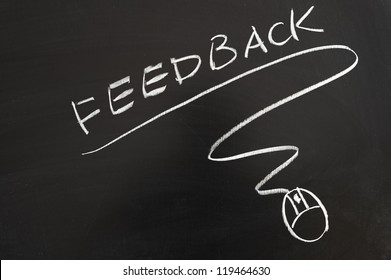 Feedback word and mouse symbol drawn on the blackboard