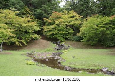 feeder stream of Motsu temple in Hiraizumi, Iwate, Japan