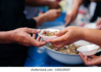 feeding the poor to help each other in society : concept of donation