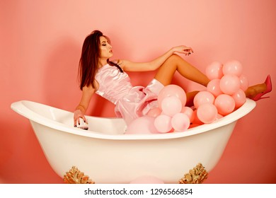 I feel beautiful. Woman enjoy everyday hygiene. Sensual woman takes spa in bath. Bath is a part of my everyday life. Healthy life style. Daily beauty routine.