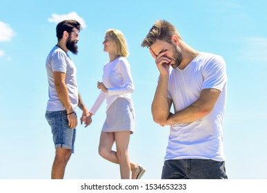feel unhappy. interpersonal relationship. Misunderstanding. love triangle. Social problem. Betrayal and divorce. couple in love. third wheel. relationship problems. sworn friends. family psychology.