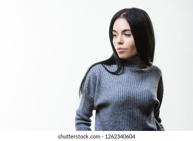Feel warm and comfortable. Woman wear grey textile suit blouse and pants. Warm comfortable clothes. Casual style fashion for every day. Female knitwear. Fashionable knitwear. Knitwear concept.