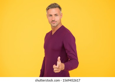 Feeling motivated. You are awesome. Man mature hipster yellow background. Masculinity and brutality. Guy bristle pointing at you. Support and motivation. Motivated man. Self confident and motivated.