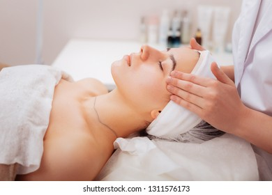 Feeling relaxed. Pleasant attractive woman feeling peaceful while having a special beauty procedure