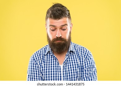 Feeling sorry. Embarrassment concept. Feel so sorry. Man bearded regretful face. Guy bearded sorry. Ask for apologies. Man with beard looks pitiful. Man regret about done and ask to forgive him.