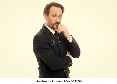 Feeling tired. Bearded mature man in business style. Fashionable aged business person. Mature businessman in formal wear. Senior man with grey beard hair. Back to work in a suit and tie.