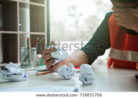 Feeling Tired Stressed Image Frustrated Architect Engineer Stock