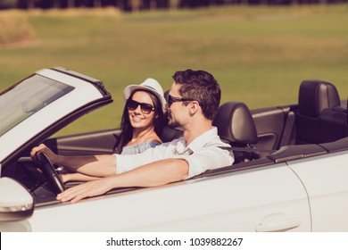 Feelings, married family, friendship, reach destination, escape, speed ride lifestyle. Carefree cheerful driver husband, lady wife are on their way to dreams and happiness, nice route