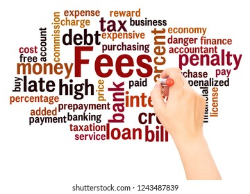 Fees word cloud hand writing concept on white background.