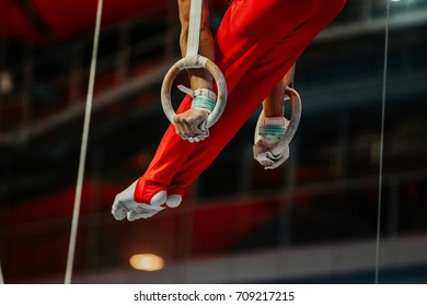 feet athlete gymnast still rings exercise in gymnastics