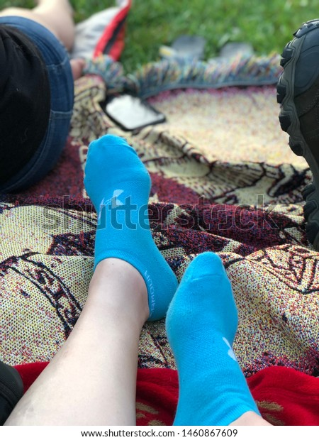 Feet Blue Socks On Blankets Stock Photo Edit Now 1460867609
