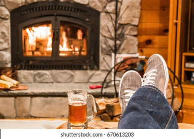 Feet up by the fireplace
