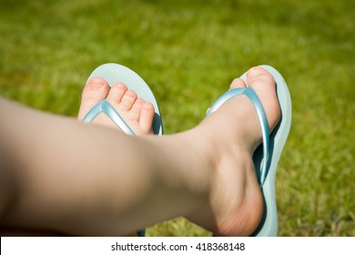 Feet / foot / leg of disabled girl; misshapen toes; birth defect