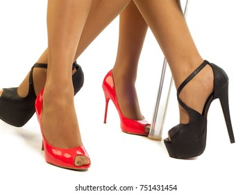 Feet in high heels,   pins, trilbies, landing gear. Photography Studio