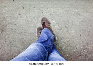 feet, jeans and shoes
