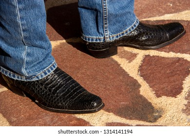 FEET OF A MAN WEARING EXOTIC LEATHER COWBOYBOOTS