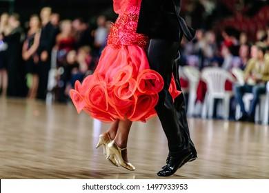 feet man and woman dancers on floor ballroom dance