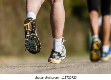 feet of a marathon runner