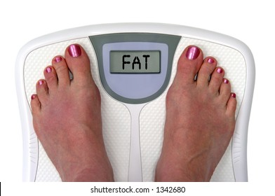 Feet on a bathroom scale with the word fat on the screen. Isolated. Include clipping path.