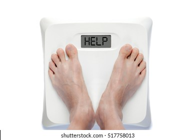Feet on bathroom scale with the word HELP on screen. Signifies either overweight or underweight health problems requiring help.