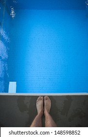 feet on diving platform