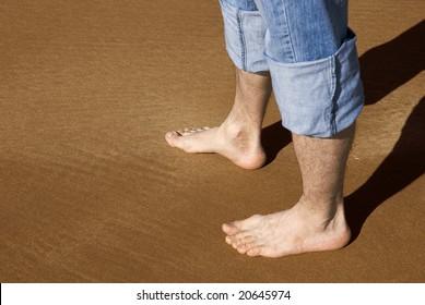 feet on a sand