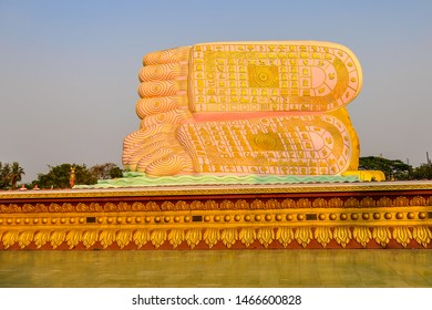 Feet of Reclining Buddha in the old city of Bago, Myanmar