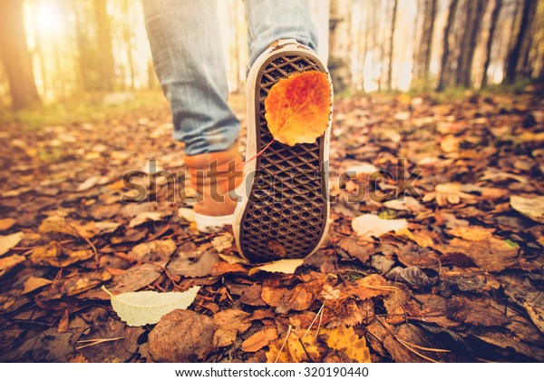 Feet sneakers walking on fall leaves Outdoor with Autumn season nature on background Lifestyle Fashion trendy style