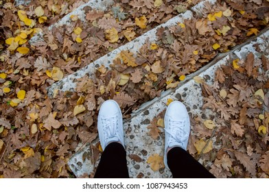 Feet in white trainers on the stone steps covered with autumn leaves