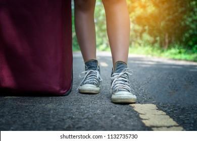 Feet of a woman tourist