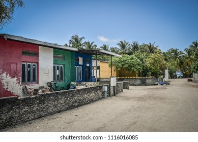 Fehendhoo island, Maldives - March 26, 2018: Empty street in traditional Maldivian village on Fehendhoo island, Baa atoll