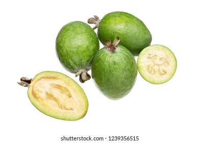 Feijoa fresh fruit isolated on white background. Acca sellowiana. Tropical fruit