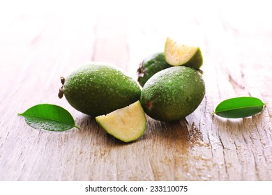 Feijoa on table close-up