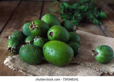 Feijoa from South America, a very useful green berry, which is rich in vitamins and minerals.