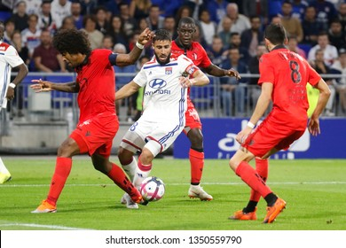 Fekir Nabil of Lyon and Costa Santos Dante and Lees-Melou Pierre of Nice during French championship match between Olympique Lyonnais and Amiens 8/12/2018 Groupama stadium Decines Charpieu Lyon France