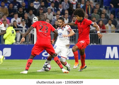 Fekir Nabil of Lyon and Sarr Malang and Costa Santos Dante of Nice during French championship match between Olympique Lyonnais and Amiens 8/12/2018 Groupama stadium Decines Charpieu Lyon France