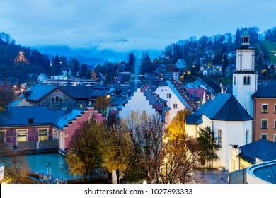 Feldkirch panorama at dawn. Feldkirch, Vorarlberg, Austria.