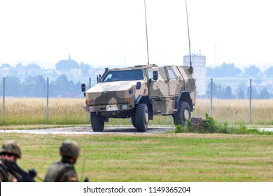 FELDKIRCHEN / GERMANY - JUNE 9, 2018: German ATF Dingo, from Bundeswehr, drives on a road at Day of the Bundeswehr. The ATF Dingo is a German heavily armored military MRAP infantry mobility vehicle.