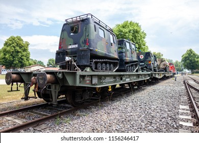 FELDKIRCHEN / GERMANY - JUNE 9, 2018: German armoured military vehicles from Bundeswehr, stands on a train waggon at Day of the Bundeswehr in Feldkirchen / Germany.