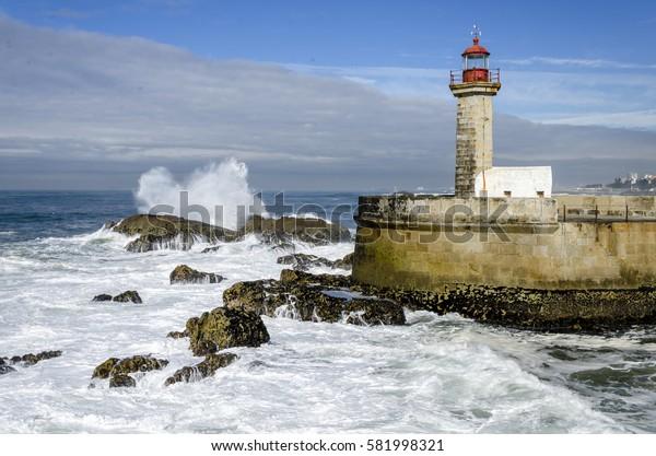 Felgueira Lighthouse in Porto, Portugal